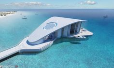 Stingray-Floating House by Tangram Floating Architecture, Modern Architecture House, Futuristic Architecture, Amazing Architecture, Architecture Design, Floating House, Floating In Water, Arquitectura Wallpaper, Underwater House
