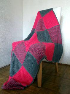 Modern Afghan Crochet Blanket Throw - Pink and Grey Squares -   via Etsy.