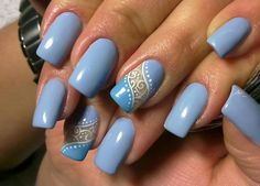 53 New ideas for nails blue spring negative space Periwinkle Nails, Blue Nails, Really Cute Nails, Nailart, Diva Nails, Manicure E Pedicure, Cute Nail Designs, Long Nails, Prom Nails