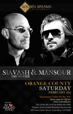 MANSOUR - Live In Concert Saturday, February 21, 2015 Segerstrom Center for the Arts Costa Mesa, Orange County, CA Tel: 714-501-4237