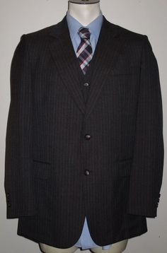 Men's Woodmere Brown Pinstripe 3 Piece Suit - 38L - Pants 34x33 Wool Blend #Woodmere #TwoButton