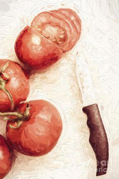 Creative digital painting of a sliced tomato beside whole tomatoes. Vintage cooking artwork by Ryan Jorgensen