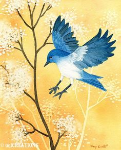 Blue Bird In Flight - 8x10 ORIGINAL watercolor painting by Tracy Lizotte. $150.00, via Etsy.