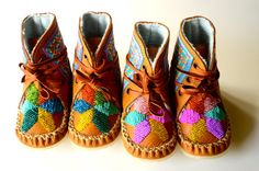 Baby and Toddler handmade beaded wool-lined moccasin winter boots with wool insole and crepe rubber sole