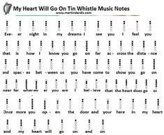 My Heart Will Go On Easy Tin Whistle Letter Notes music Recorder Notes, Recorder Music, Tin Whistle, Flute Sheet Music, Sheet Music Notes, Partition Flute A Bec, Irish Folk Songs, Irish Flute, Wooden Flute
