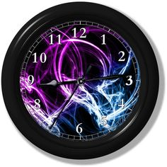 "Purple & Blue Lights Wall Clock from Clocks Galore | Square Market ► Size: 9"" in diameter ►Materials: ● Black Plastic Frame ● Glass Lens ● Aluminum Hands ● 5168 Movement"