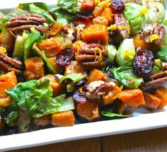 Orange Glazed Brussels Sprouts and Butternut Squash | gluten-free, Thanksgiving side dish idea