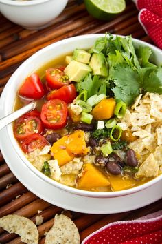 Black Bean, Sweet Potato, Avocado and Red Quinoa Soup
