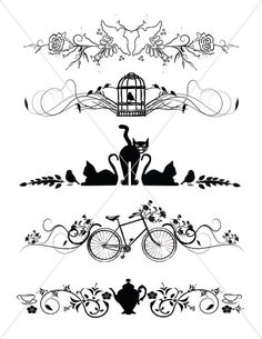Silhouette Cats Divider Lines Bird Borders Teapot by TuiTrading