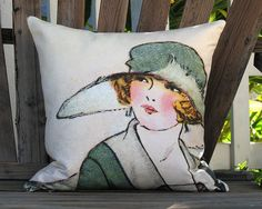French Fashion  Lady in Green Hat Pillow Cover by artanlei on Etsy, $35.00
