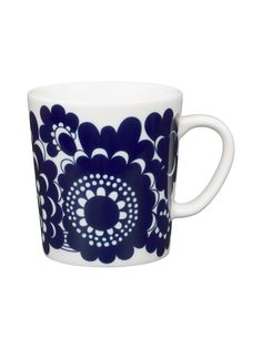 Arabia Finland Anniversary Mugs Arabia's beloved patterns celebrate each decade of Finland's hundred years of independence. Arabia is one of Finland's oldest brands and has been a part of Finnish life in both everyday life and celebr. Nordic Design, Scandinavian Design, Motif Floral, Marimekko, Goods And Services, The Fresh, White Ceramics, The 100, Blue And White