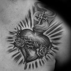 Black And Grey Sacred Heart With Roses Tattoo On Left Front Shoulder By Steve So. Black And Grey Sacred Heart With Roses Tattoo On Left Front Shoulder By Steve Soto. Cross Tattoo Meaning On Hand Heart Tattoos Meaning, Sacred Heart Tattoos, Heart Tattoo Designs, Rose Tattoos, Body Art Tattoos, Sleeve Tattoos, Cloud Tattoos, Wing Tattoos, Butterfly Tattoos