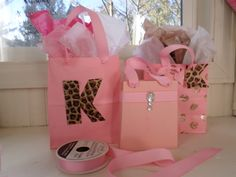 handmade pink gift bags and gift card holder