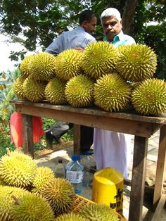 Durian fruit in Kandy, Sri Lanka. I don't know what these taste like but I want to try one!