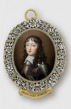Philippe de France, Monsieur, duc d'Anjou, later duc d'Orleans (1640-1701), age twelve, circa 1652 miniature by Jean le Vieux Petitot (1607-1691)