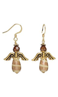 Angel Earrings with Lampworked Glass Beads, Antiqued Gold-Finished Pewter Beads and SWAROVSKI ELEMENTS - supply list only