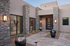 modern home exterior wall design house front decoration ideas 2019 Exterior Wall Design, Entrance Design, House Entrance, Facade Design, Modern Exterior, Modern Entrance, Courtyard Design, Bungalow House Design, House Front Design