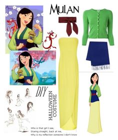 """DIY Halloween Costume: Mulan"" by daisslovebeauty on Polyvore featuring Disney, BCBGMAXAZRIA, P.A.R.O.S.H., Yves Saint Laurent, Chloé, halloweencostume and DIYHalloween"