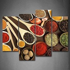 [Framed] Colorful Spice In Spoon Food Canvas Art Prints Picture Wall Home Decor #Firstwallart #ArtDeco