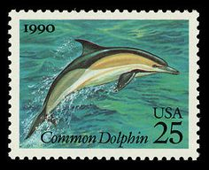 The common dolphin stamp, part of the 25-cent Creatures of the Sea commemorative issue, went on sale October 3, 1990.