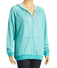Look at this #zulilyfind! Peacock French Terry Long-Sleeve Zip-Up Hoodie - Plus by TROO #zulilyfinds