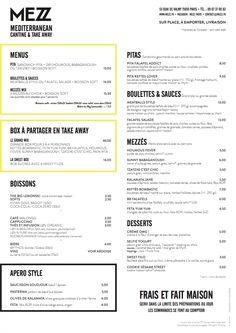 carte du restaurant MEZZ Paris