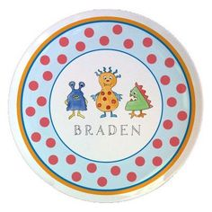 Kids Tabletop Plate Design: Monster Madness  - Click image twice for more info - See a larger selection of baby solid feeding at http://zbabybaby.com/category/baby-categories/baby-feeding/baby-solid-feeding/  - gift ideas, baby , baby shower gift ideas, toddler  « zBabyBaby.com