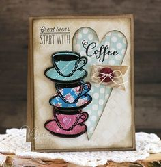 Coffee card by Laurie Schmidlin using the  Coffee set and Cuppa Joe Die Set from Verve.  #vervestamps