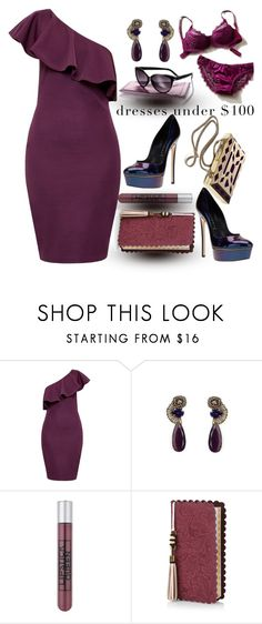 """""""One Shoulder Dress Under $100"""" by clotheshawg ❤ liked on Polyvore featuring Ted Baker, Tataborello, Casadei, Lipstick Queen and Monsoon"""