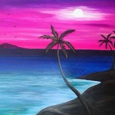 Costa Azul : Paint this beautiful beach at Pinot's Palette Des Moines Oil Pastel Paintings, Oil Pastel Art, Oil Pastel Drawings, Easy Paintings, Landscape Paintings, Art Drawings, Oil Pastels, Drawing Art, Easy Canvas Painting