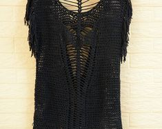 Black Open Back Crochet Fringe Top Women Blouse