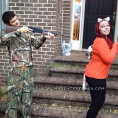 Cute Fox and Hunter Couple Costume… Coolest Halloween Costume Contest