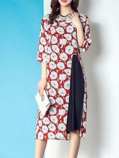 Shop Midi Dresses - Multicolor Floral Floral-print Crew Neck Casual Midi Dress online. Discover unique designers fashion at StyleWe.com.