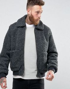 ASOS Borg Bomber Jacket In Charcoal Marl Size Small  **purchased but didn't fit :(