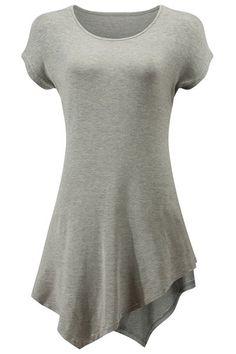 Stylish Scoop Neck Short Sleeve Asymmetrical T-Shirt For Women #jewelry, #women, #men, #hats, #watches, #belts, #fashion
