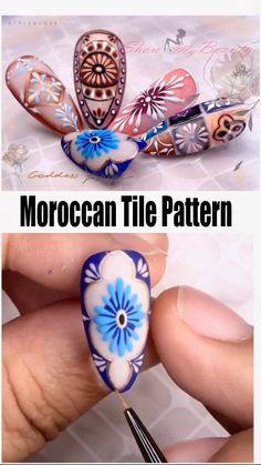 Moroccan Tile Pattern Nail Art Design - - nail beauty- show you all kinds of nail desins and ideas for lady's beauty: beautiful nails, nail art, nail care, nail art designs, nails and beauty. Nail Art Hacks, Nail Art Diy, Diy Nails, Nail Art Designs Videos, Nail Art Videos, Nail Designs, Jolie Nail Art, Gel Nagel Design, Nails Polish