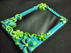 polymer clay mirrors | Blue flowers mirror