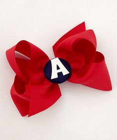 Red Initial Bow Clip