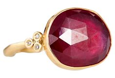 One Kings Lane - The Perfect Match - Rosecut Ruby Silver Ring #rubyrings