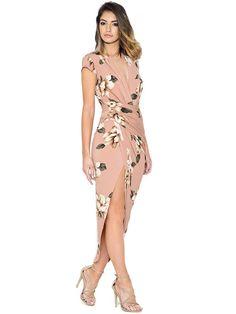 Floral Print Deep V Ruched Slit Bodycon Dress