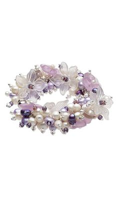 Bracelet with Lucite Flower Components, Cultured Freshwater Pearls and Seed Beads - Fire Mountain Gems and Beads
