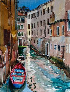 Red boat in Cannaregio Venice landscape digital by NathingsArt