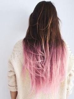 Brown to light pink ombré hair...like this!