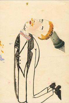 Erwin Blumenfeld Homme agenouillé avec tour 1920 encre de Chine, encre, aquarelle et collage sur papier Collection Henry Blumenfeld © The Estate of Erwin Blumenfeld