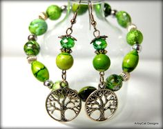 Tree of Life  Green and Silver Beaded Earrings by ArtsyCatDesigns