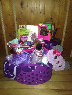 girls spa and nail easter basket in purple unwrapped