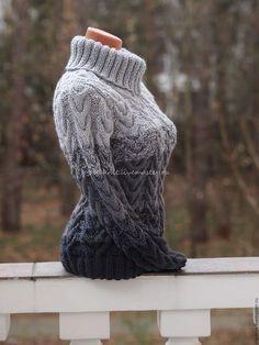 Кофты и свитера ручной работы. Ярмарка Мастеров - ручная работа. Купить Серебристо-серый объемный свитер. Handmade. Серый