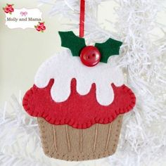 Christmas Cupcake Ornament made with the Festive Feltie pattern from Molly and Mama Máscraft show, felt ornament displayHand stitch these cute felt Christmas decorations (a reindeer, mouse and cupcake) using the Festive Felties pattern in One Thimbl Felt Christmas Decorations, Christmas Ornaments To Make, Christmas Sewing, Christmas Projects, Handmade Christmas, Holiday Crafts, Christmas Crafts, Christmas Cupcakes, Christmas Music