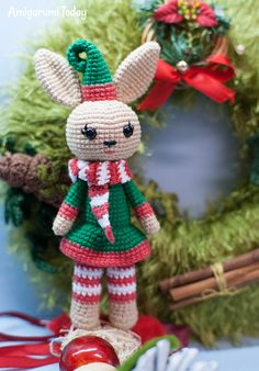 Free Christmas Bunny amigurumi pattern