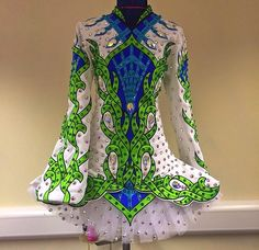 Like green and replace blue with pink  Celtic Star Irish Dance Solo Dress Costume